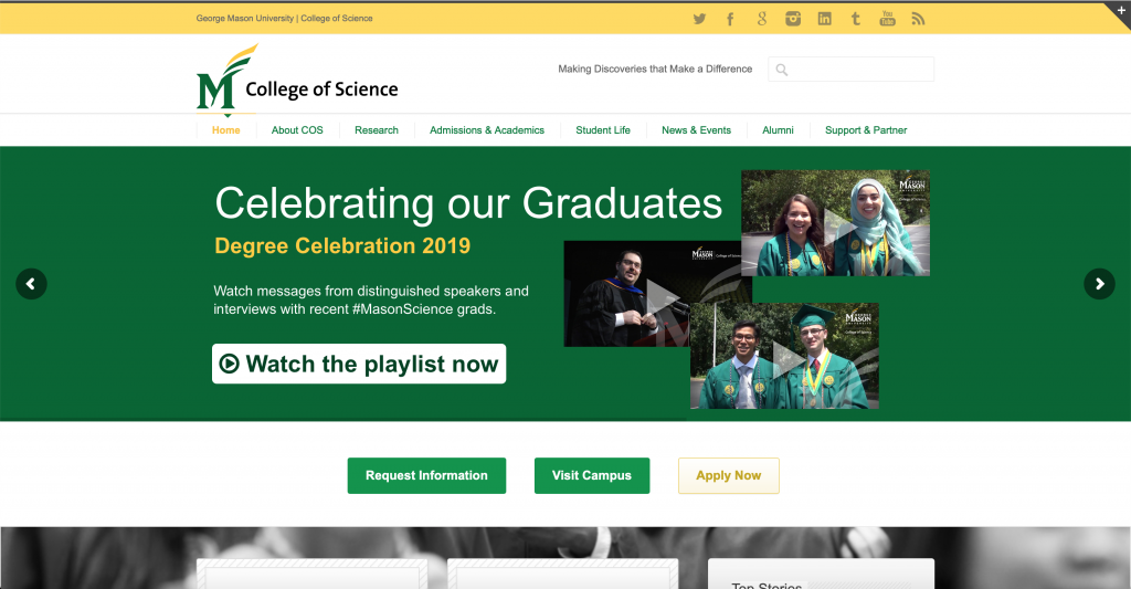 College of Science homepage with grad video web slider