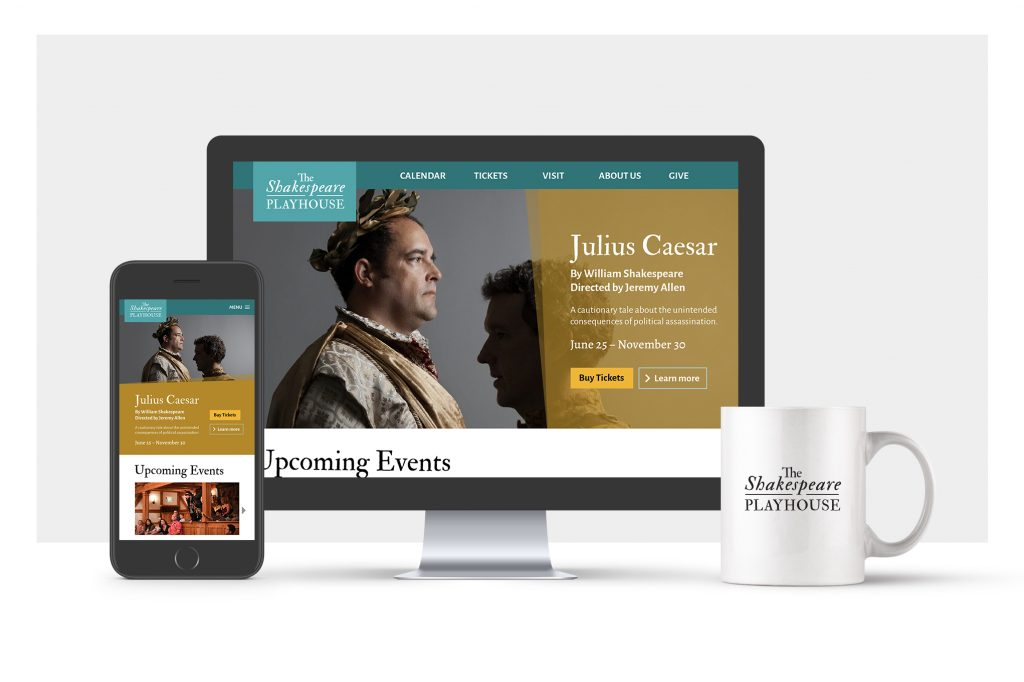 The Shakespeare Playhouse website 3D mockup