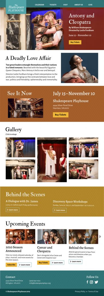 The Shakespeare Playhouse website Antony and Cleopatra page mockup