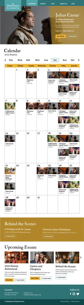 The Shakespeare Playhouse website calendar page mockup