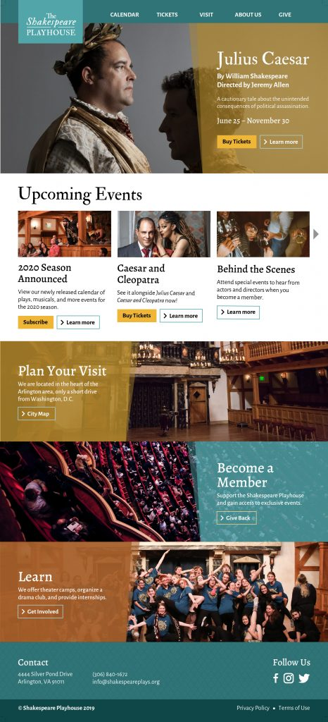 The Shakespeare Playhouse website home page mockup