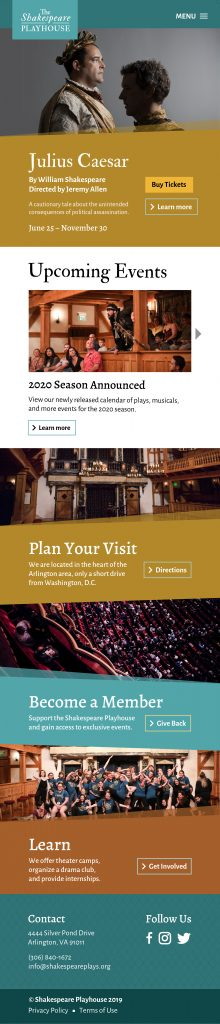 The Shakespeare Playhouse website mobile home page mockup